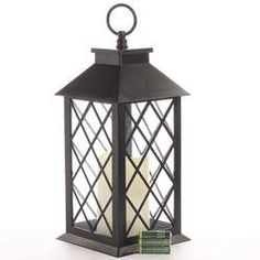 Rustic Black Flameless Candle Lantern with Decorative Glass Side Windows and Included Batteries