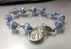Rosary bracelet single decade with antique La Salette medal by RosenkranzAtelier on Etsy