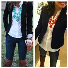 Blazer and a Bubble Necklace! I love the look!