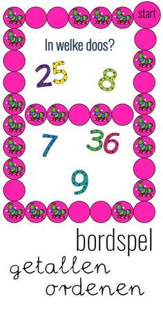 Leuk bordspel voor groep 3 met als rekendoel: 'Getallen tot en met 50 tussen de goede tientallen zetten'.