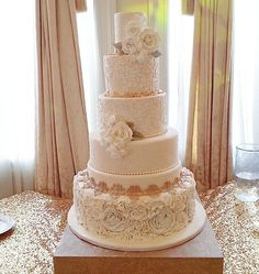 Vintage glamour cake. Lace and frills. Gold and blush wedding.  Old Hollywood Cake. Thank you  Dianemichellecakes.com   @themerionnj @dianecupcakes  Photo Credit: @kaitlinnphotog