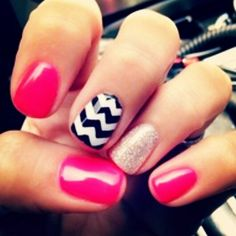 Pink, sparkly, and black and white zig zag nails