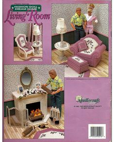 Fashion Doll Dream Home Living Room Plastic Canvas Pattern The Needlecraft shop 923719.  back cover