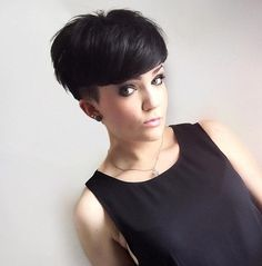 Straight Pixie Hairstyle with Black Hair