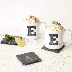 Personalized Initial Large Coffee Mugs (Set of 2) (SCR-3900-T), White (Ceramic, Solid)
