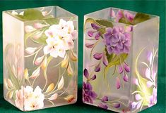 Hand Painted Hydrangea Rectangular Vase /  Centerpiece