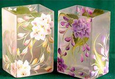 Hand Painted Hydrangea Rectangular Vase /  Centerpiece