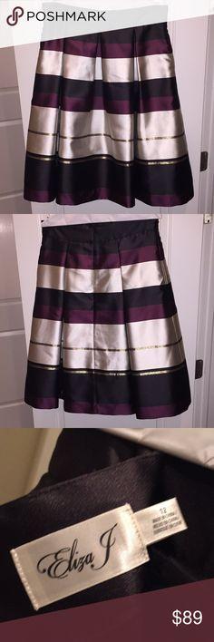 Nordstrom Eliza J Striped Dress Skirt Nordstrom Eliza J Striped Dress Skirt; Size 12; Back Zip: Worn Once Eliza J Skirts A-Line or Full
