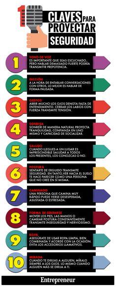 Hola: Una infografía con 10 formas de proyectar seguridad en ti mismo. Vía Un…