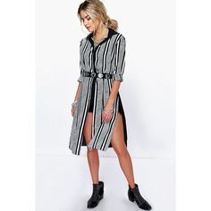 Boohoo Flora Stripe Front Woven Split Side Tunic Shirt ($26) ❤ liked on Polyvore featuring tops, black, long sleeve tops, basic t shirt, high neck crop top, striped shirt and jersey shirt