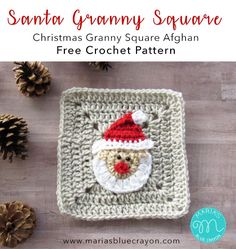 Santa Claus Granny Square | Free Crochet Pattern | Santa Square is a part of the Christmas Granny Square Afghan/Blanket #christmas