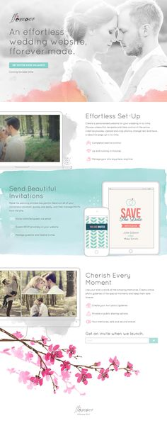 Responsive launching soon page for 'FForever' - a new niche site builder focusing on wedding websites. I like how the soft watercolor painting theme in the background really makes the devices/screenshots stand out.