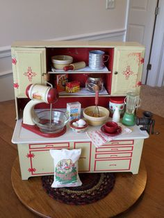 Vintage Toy Kitchen- Wolverine Cupboard Loaded w/Goodies -Byers Choice Accessory #Wolverine