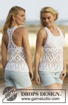 """Crochet DROPS top with fans and star pattern in """"Cotton Light"""". Size: S - XXXL. ~ DROPS Design"""