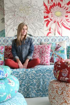 Amy Butler's Alchemy Studio Fabric with Gumdrop Pillows.