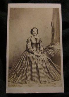 Original CDV PHOTO 1860s woman smooth hair Victorian striped print dress Danish