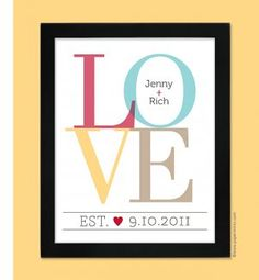 LOVE Wall Print celebrating your wedding..but all in one color to match the room I put it in.