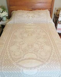 Stunning Antique French Normandy Lace Coverlet Bedspread c1900 Lavish Amazing Vintageblessings