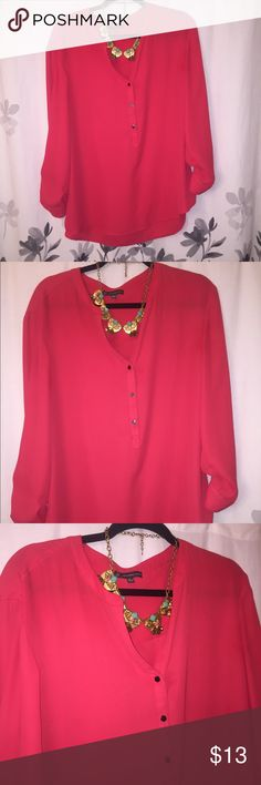 Posh Pink Blouse Posh pink blouse with half button down gold buttons. Worn once Adrianna Papell Tops Blouses