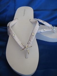 b15a470e5763 White Wedge Bridal Flip Flops with Silver Starfish