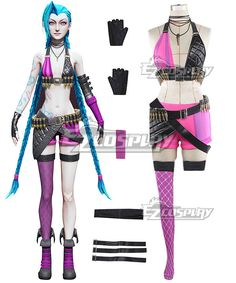 Pls email us if you need the costume, wig, shoes, weapon or other accessories of this character.  Email address: Ezcosplay@gmail.com League Of Legends LOL Loose Cannon Jinx Cosplay Costume - LOL0077