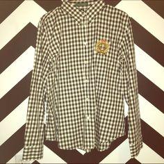 Ralph Lauren Checkered Button Up Ralph Lauren Black and white checkered Button Up with Gold Crescent. Ralph Lauren Tops Button Down Shirts