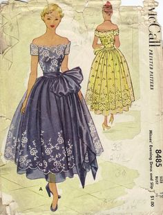 McCall 40s 50s Sewing Pattern High Fashion Formal Evening Gown Fancy Dress Off Shoulder Wide Waist Sash Lace Slip Full Skirt Bust 30.
