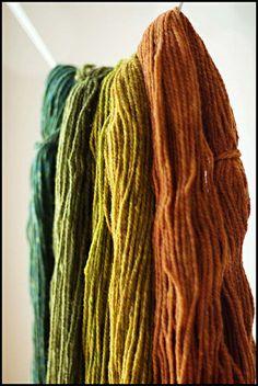Autumn wool. Teal, green, mustard, yellow, pumpkin, burnt orange.