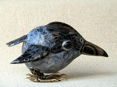 Painted porcelain crow by Anya and Slava Leontiev Stasenko