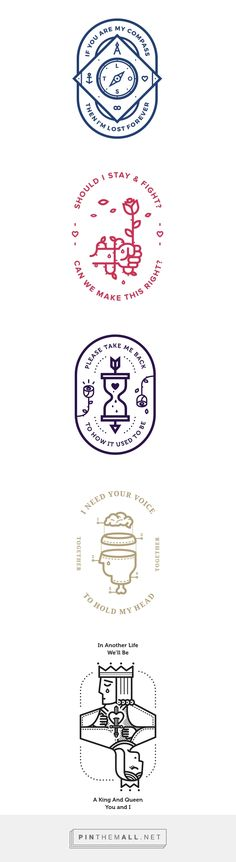 Badges vol.2 (inspired by lyrics) on Behance - created via… http://jrstudioweb.com/diseno-grafico/diseno-de-logotipos/