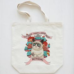 Grumpy cat canvas bags Favor BagsTote bag cotton bag by Hcaseshop, $9.00