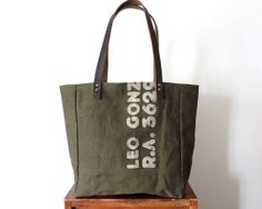 Military Canvas Leather Tote Bag WWII Recycled by Lindock on Etsy, $175.00