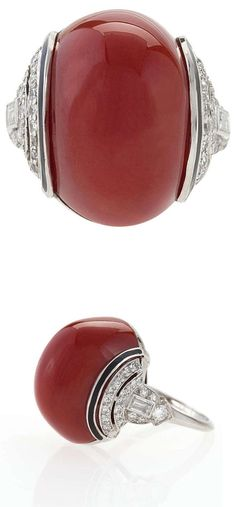 Art Deco Diamond, Red Coral, Enamel and Platinum Ring. Circa 1920's.
