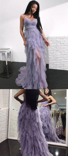 c0f33b6b40a Lilac Spaghetti Strap Sleeveless Prom Dresses Ruffles Tulle Evening Dresses   promdress  prom  dress