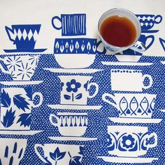 Tea towel Everyone Came to Tea in china blue by skinnylaminx. $17.70 USD, via Etsy.