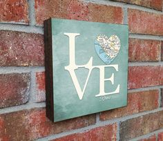 LOVE Rome Italy Heart Map ART BLOCK print on by droppedpinshop