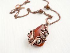 Terra  Jasper pendant  Wire pendant  Wire jewelry by UrsulaJewelry, $77.00