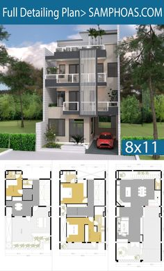 Sketchup House Plan 4 Story Plan with 5 Bedroom Free House Design, 3 Storey House Design, Small House Design, Modern House Design, House Layout Plans, Duplex House Plans, House Layouts, House Floor Plans, Home Design Floor Plans
