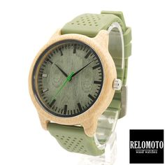 Dahan Green Silicone Strap Bamboo Wood Watch - Relomoto