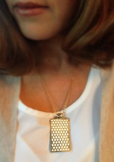 Fitbit One pendant / necklace Rectangle Honeycomb by techGLAM