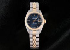 Blue Stick Dial Fluted Bezel Rolex Date Ladies Watch Two Tone Jubilee Bracelet.