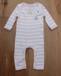 Burt's Bees Baby Girl Non Footed Coverall ~ Pale Pink & White ~ Organic Cotton ~ #BurtsBeesBaby #BabyGirl #OrganicCotton #NonFooted #Coverall
