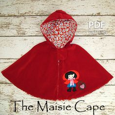 fairytale frocks and lollipops :: my childhood treasures, dixi, the maisie cape, girl, toddler, baby, reversible, cape, coat, felt, applique, straight stitch, beginner, winter, cozy, little red riding hood, velvet, polar fleece, wool, wool blend, cotton,