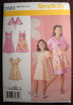 Simplicity Girl's Dress, Bodice And Jacket Pattern 2683 - Size 3-4-5-6
