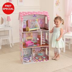 The KidKraft Penelope Dollhouse is the perfect place for young imaginations to grow. Standing nearly four feet tall with three levels of play, each of the four rooms tells a story in soft pastel artwork. Doll Furniture, Dollhouse Furniture, Furniture Online, Kitchen Furniture, Antique Furniture, Anniversaire Harry Potter, Four Rooms, Pastel Artwork, Elegant Chandeliers