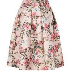 Ted Baker Jirily Blossom Jacquard Midi Skirt (2.845 ARS) ❤ liked on Polyvore featuring skirts, midi skirt, pink floral skirt, flower skirt, knee length summer skirts and flower midi skirt