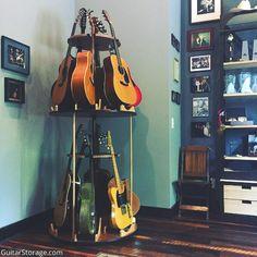 Terri Clark Guitar Stand Guitar Storage, Guitar Display, Home Music Rooms, Music Studio Room, Acoustic Guitar Case, Guitar Stand, Guitar Chords, Ukulele, Office Music