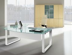 Modern Contemporary Office Desks and Furniture - Executive Office, Glass, Italian Desks Contemporary Office Desk, Contemporary Decor, Office Furniture, Furniture Design, Executive Office, Home Office, Office Desks, Office Accessories, Corner Desk