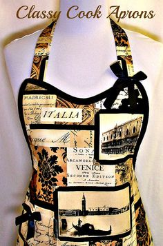 Apron Venice Italy & Leaning Tower of Pisa by ClassyCookAprons, $36.50