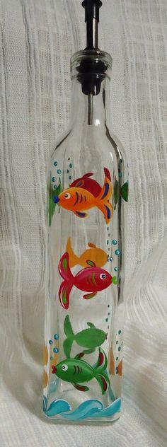 Dispenser bottle, Oil, Vinegar, Soap, Decorative fish, Bottle, Painted glass, Painted bottle, Decorative bottle, Glass art, Custom glass